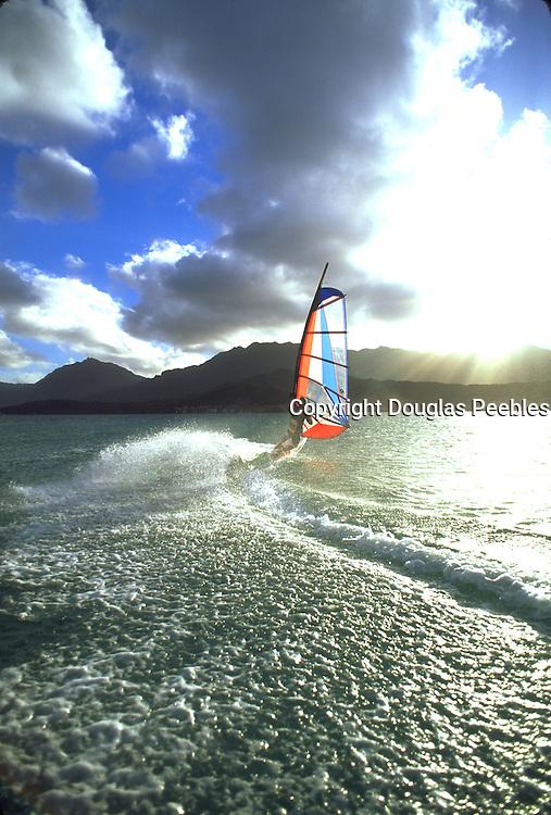 Windsurfing, Kaneohe Bay, Windward Oahu, Oahu, Hawaii, USA<br />