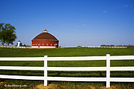 Round red barn built in 1918 near Wabash Indiana