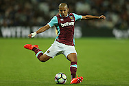 Sofiane Feghouli of West Ham United crossing the ball. UEFA Europa league, 3rd qualifying round match, 2nd leg, West Ham Utd v NK Domzale at the London Stadium, Queen Elizabeth Olympic Park in London on Thursday 4th August 2016.<br /> pic by John Patrick Fletcher, Andrew Orchard sports photography.
