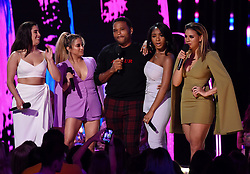 LOS ANGELES - AUGUST 13: L-R: Lauren Jauregui, Ally Brooke of Fifth Harmony, Anthony Anderson and Normani Kordei and Dinah Jane of Fifth Harmony onstage at FOX's 'Teen Choice 2017' at the Galen Center on August 13, 2017 in Los Angeles, California. (Photo by Frank Micelotta/FOX/PictureGroup) *** Please Use Credit from Credit Field ***