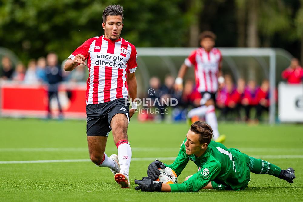 25-08-2018: Voetbal: O17 PSV v NEC OSS: Eindhoven<br /> Onder 17, JO17-1, Jeugd Supercup Onder 17 Supercup<br /> Seizoen 2018-2019<br /> (L-R) #9 Jason Pigmans (PSV o17), #1 Jonas Florusse (NEC/OSS o17)
