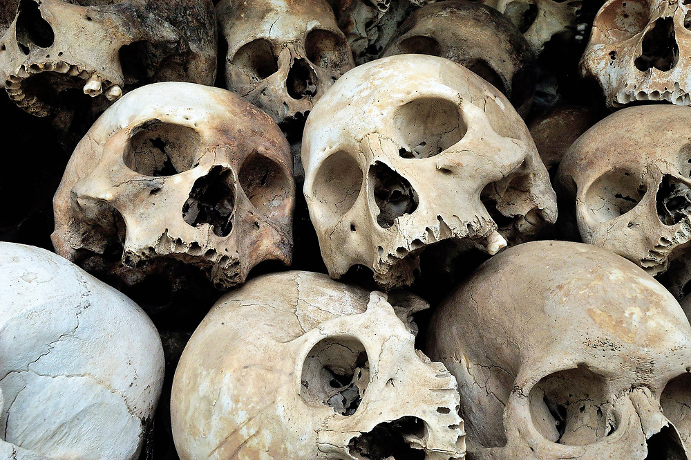 Skulls piled in a monument in the Killing Fields at Cheung Ek, where over 17,000 Cambodians were executed by the Khmer Rouge.