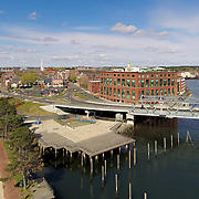 An aerial view of Portsmouth, NH, taken from over the Piscataqua River near the south end of the Memorial Bridge, looking NW.