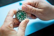 DETROIT, MI - OCTOBER, 30: Master Watch Maker Stefan Mihoc, 47, of Troy, MI, at the Shinola factory in Detroit, Michigan, Thursday, October 30, 2014. (Photo by Jeffrey Sauger)