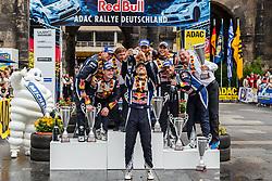 23.08.2015, Porta Nigra, Trier, GER, FIA, WRC, ADAC Rallye Deutschland, im Bild Sebastien Ogier (FRA) macht ein Selfie mit den anderen Fahrern und Beifahrern auf dem Podium // during the FIA WRC Rallye of Germany Porta Nigra in Trier, Germany on 2015/08/23. EXPA Pictures © 2015, PhotoCredit: EXPA/ Eibner-Pressefoto/ Neis<br /> <br /> *****ATTENTION - OUT of GER*****