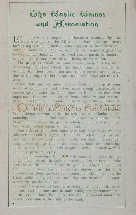 All Ireland Senior Football Final, Kerry 0-07 Galway 1-03, 22.09.1940, 09.22.1940, 22nd September 1940, 22091940AISFCF,.