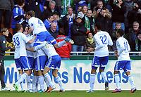 Fotball<br /> Tyskland<br /> 06.04.2013<br /> Foto: Witters/Digitalsport<br /> NORWAY ONLY<br /> <br /> 0:1 Jubel v.l. Roman Neustaedter, Torschuetze Julian Draxler (verdeckt), Benedikt Hoewedes, Joel Matip, Raffael (Schalke)<br /> Fussball Bundesliga, SV Werder Bremen - FC Schalke 04