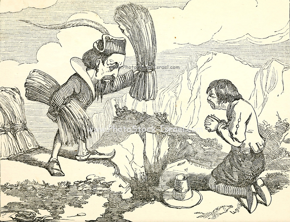 The Giant and the Dwarf or Strength and Reason Fairy Tale from the book 'Fairy tales' by Forrester, Alfred Henry, 1804-1872 [Alfred Henry Forrester (10 September 1804 – 26 May 1872) was an English author, comics artist, illustrator and artist, who was also known under the pseudonym of Alfred Crowquill.