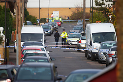 A large cordon remains in place on Fraser Road in Edmonton, North London following Sunday evening's quadruple stabbing, thought by police to be linked to a shooting on Gordon Road on Saturday 17th November. Edmonton, London, November 19 2018.