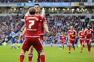 Middlesbrough FC defender Daniel Ayala celebrates the goal from Middlesbrough FC midfielder Albert Adomah with Middlesbrough FC midfielder Grant Leadbitter during the Sky Bet Championship match between Brighton and Hove Albion and Middlesbrough at the American Express Community Stadium, Brighton and Hove, England on 19 December 2015. Photo by Phil Duncan.