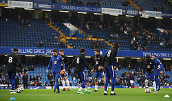 """Chelsea players wearing the shirt number """"8"""" on their pre-match training shirts in memory of the late Ray Wilkins"""