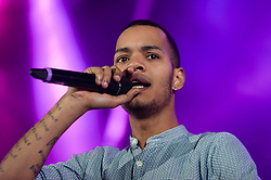 "© Licensed to London News Pictures. 01/03/2014. London, UK.   Rizzle Kicks performing live at Hammersmith Apollo. In this picture - Harley Alexander-Sule.  Rizzle Kicks are an English hip hop duo from Brighton, consisting of Jordan ""Rizzle"" Stephens and Harley ""Sylvester"" Alexander-Sule.   Photo credit : Richard Isaac/LNP"