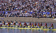 Sydney, AUSTRALIA, ROM W8+ leading the field as their approach the finishing line in the Olympic final for Women's eights, at the 2000 Olympic Regatta, Penrith Lakes. [Photo Peter Spurrier/Intersport Images]  right to left] bow, DAMIAN, Georgeta, SUSANU Viorica, OLTEANU Ioana, COCHELEA Veronica, DUMITRACHE Maria Magdalena, LIPA Elisabeta, GAFENCU Liliana, stroke,<br /> IGNAT Doina and cox GEORGESCU Elena. 2000 Olympic Rowing Regatta00085138.tif