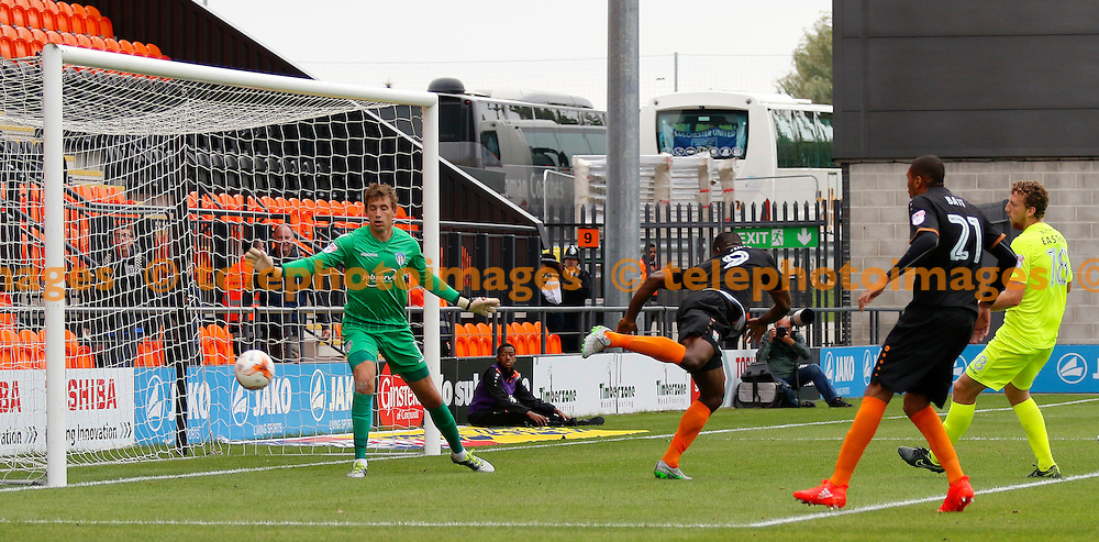 Barnet's John Akinde can't flick in the shot during the Sky Bet League 2 match between Barnet and Colchester United at Underhill Stadium in London. September 17, 2016.<br /> Carlton Myrie / Telephoto Images<br /> +44 7967 642437