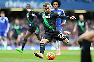 Xherdan Shaqiri of Stoke City taking a shot at goal but just misses. Barclays Premier league match, Chelsea v Stoke city at Stamford Bridge in London on Saturday 5th March 2016.<br /> pic by John Patrick Fletcher, Andrew Orchard sports photography.