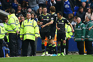 Gary Cahill of Chelsea (l) celebrates with his teammates after scoring his teams 2nd goal. Premier league match, Everton v Chelsea at Goodison Park in Liverpool, Merseyside on Sunday 30th April 2017.<br /> pic by Chris Stading, Andrew Orchard sports photography.