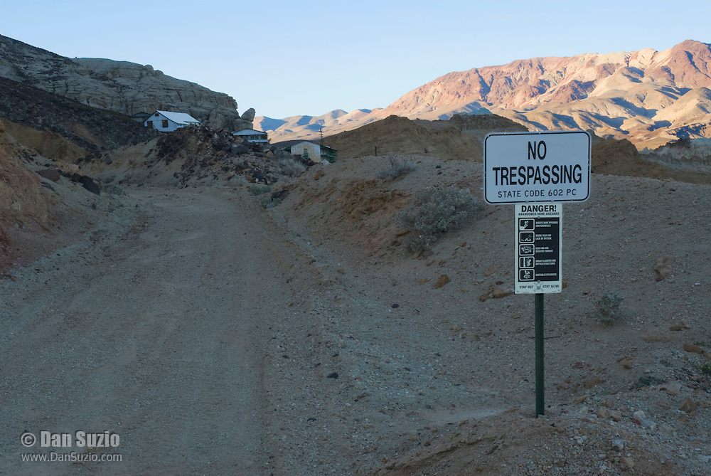No Trespassing sign at Ryan, California, a 1920s mining camp in the Greenwater Range on the Eastern edge of Death Valley