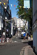 East Gate Tudor arch in the High Street at Totnes, Devon, England, UK