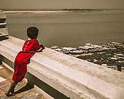 Looking out over the Ayeyarwady (Irrawaddy) River from Old Bagan town in Myanmar / Burma. The river, Burma's longest, flows north to south from its source high in the Himalayas through the centre of the country and empties into the Andaman Sea. It is navigable for about 1,400km (870 miles) from its mouth. In August, when the Himalayan snows melt, the water is high enough to allow vessels all the way to Bhamo, close to the Chinese border in the country's wild north.
