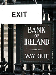 Bank of Ireland © London News Pictures 10/01/2011..Irish Prime Minister Brian Cowen is under pressure over his relationship with former Anglo Irish Bank chairman Sen FitzPatrick. Anglo Irish Bank was taken into state ownership in January 2009 and is the largest contributor of assets to the Irish National Asset Management Agency. Picture caption should read Simon Lamrock/LNP