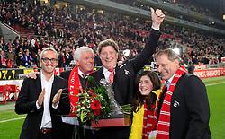 07.03.2014, Rhein- Energie Stadion, Koeln, GER, 2. FBL, 1. FC Koeln vs FC Energie Cottbus, 24. Runde, im Bild vl: Geschaeftsfuehrer Alexander Wehrle, Praesident Werner Spinner (1 FC Koeln), Vize Praesident Tony Schumacher (1 FC Koeln), dessen Tochter, Vizepraesident Markus Ritterbach gut gelaunt // during the 2nd German Bundesliga 24th round match between 1. FC Cologne and FC Energie Cottbus at the Rhein- Energie Stadion in Koeln, Germany on 2014/03/07. EXPA Pictures © 2014, PhotoCredit: EXPA/ Eibner-Pressefoto/ Schueler<br /> <br /> *****ATTENTION - OUT of GER*****