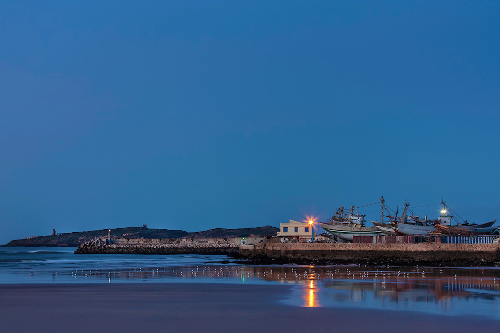 Harbour of Essaouira before sunrise, Morocco.
