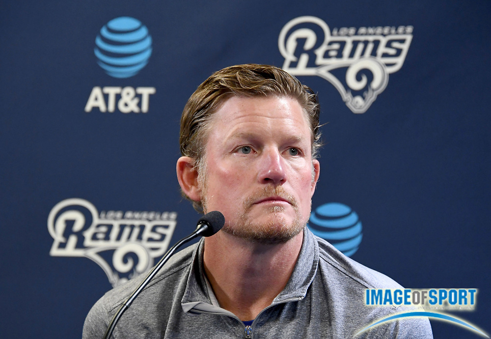 Apr 5, 2018; Thousand Oaks, CA, USA: Los Angeles Rams general manager Les Snead at a press conference at Cal Lutheran.