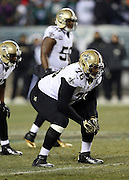 New Orleans Saints defensive end Akiem Hicks (76) gets set during the NFL NFC Wild Card football game against the Philadelphia Eagles on Saturday, Jan. 4, 2014 in Philadelphia. The Saints won the game 26-24. ©Paul Anthony Spinelli