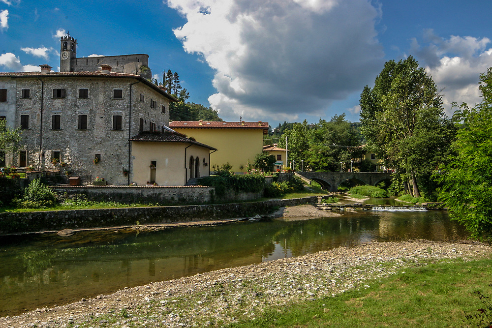 Sabbio Chiese village and Chiese river, Italy.
