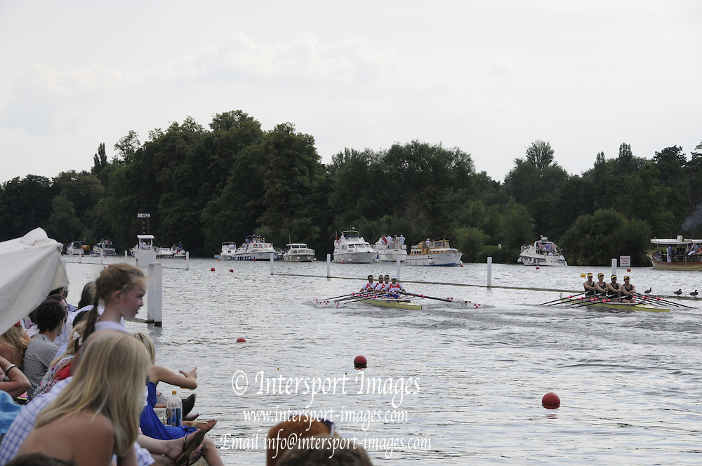 Henley, Great Britain.  Henley Royal Regatta. M4X, Queen Mother Challenge Cup, Australian Institute of Sport, AUS [Bucks], and CARC Mladost and RC Tresnjevka, CRO [Berks],racing, as the crowds, watch from the riverbank,  in their Semi-Final. River Thames Henley Reach.  Royal Regatta. River Thames Henley Reach.  Saturday  02/07/2011  [Mandatory Credit  Intersport Images] . HRR