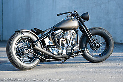 Custom 1964 Panhead built by Reini Servello sitting in front of Reini's Bobber Garage custom shop in Vaduz, Liechtenstein. (The only custom shop in the country!) Monday, February 25, 2019. Photography ©2019 Michael Lichter.