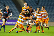 Viliame Mata (#8) of Edinburgh Rugby charges at the Cheetah's defence during the Guinness Pro 14 2018_19 match between Edinburgh Rugby and Toyota Cheetahs at BT Murrayfield Stadium, Edinburgh, Scotland on 5 October 2018.