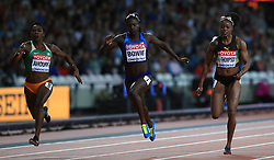 Ivory Coast's Murielle Ahoure and USA's Tori Bowie and Jamaica's Elaine Thompson in the Women's 100m Final during day three of the 2017 IAAF World Championships at the London Stadium.