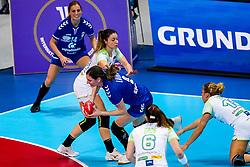 06-12-2019 JAP: Serbia - Slovenia, Kumamoto<br /> last match groep A at 24th IHF Women's Handball World Championship. / Jelena Lavko #9 of Serbia, Nina Zulic #18 of Slovenia