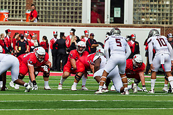 NORMAL, IL - October 02: Jackson Waring under center for a snap during a college football game between the Bears of Missouri State and the ISU (Illinois State University) Redbirds on October 02 2021 at Hancock Stadium in Normal, IL. (Photo by Alan Look)