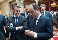 French President Francois Hollande, Minister of the Economy, Industry and the Digital Sector Emmanuel Macron and General Commissioner for Investment Louis Schweitzer during a meeting with leaders of international Paris-based startups as part of the 'Paris French Tech Ticket' conference at the Elysee Palace in Paris, France on March 2, 2016. Photo by Jacques Witt/Pool/ABACAPRESS.COM