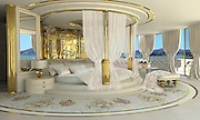 No boys allowed! Inside the world's first luxury yacht for WOMEN... complete with Swarovski crystal chandeliers, gold mosaics, ice fountains and a spa<br /> <br /> You may have thought all superyachts were created equal. But according to one designer, there is a gap in the market for vessels targeted at the fairer sex.<br /> In case the world's most powerful women don't want to splash out on the regular millionaires' toys on the market, luxury designer Lidia Bersani has created the first luxury mega yacht with a female in mind.<br /> The sleek white and gold yacht, measuring an impressive 262ft, is targeted at female buyers and is designed using crystal, gold, fur and flowers. It is even named La Belle, which translates as 'the beauty'.<br /> <br /> <br /> The 80-metre superyacht is not for the faint hearted, or Laura Ashley lovers. It's a riot of opulent gold mosaics, mother of pearl, Swarovski crystal chandeliers, gemstones, onyx and bespoke wooden furniture. <br /> The boat's design revolves around soft edges, smooth lines, floral patterns and a large amount of glass, crystal and bright white.<br /> Lidia Bersani's website says of La Belle: '[The] Yacht is in distinctive Bersani Style, romantic and warm. The colors in white, ivory and gold are predominant. Interior is full of opulent and comfortable elements.'<br /> The vessel could comfortably sleep 12 guests in six deluxe cabins. <br /> <br /> The master cabin on the second deck is unsurprisingly decadent; with a round king size double bed and baldachin (a canopy that traditionally sits over a throne or tomb of someone important), private terrace, thick curtains, gold touches and floral carpeting.<br /> There are five other guest suites spread around the boat. If you get bored of sunning yourself on deck the yacht has lounges, dining places and facilities for live music.<br /> <br /> In place of darts boards and computer games, you'll find a spa area with hyrdromassage pool, sauna, hamman, infrared sauna, snow 