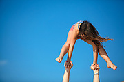 Young girl of 12 does gymnastics