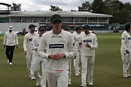 Chris Wright takes 3 wickets as Leicestershire bowl out Derbys for 137 during the Specsavers County Champ Div 2 match between Leicestershire County Cricket Club and Derbyshire County Cricket Club at the Fischer County Ground, Grace Road, Leicester, United Kingdom on 27 May 2019.