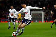 Son Heung-min of Tottenham Hotspur in action. The Emirates FA Cup, 4th round replay match, Tottenham Hotspur v Newport County at Wembley Stadium in London on Wednesday 7th February 2018.<br /> pic by Steffan Bowen, Andrew Orchard sports photography.