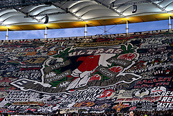 A general view of Eintracht Frankfurt fans in the stands as they hold up a giant banner during the UEFA Europa League Semi final, first leg match at The Frankfurt Stadion, Frankfurt.
