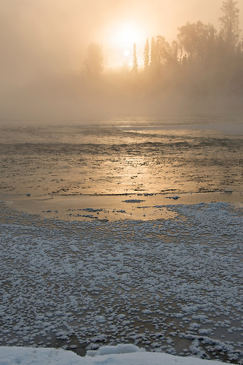Hoarfrost hangs on the branches of trees and feather crystals form on the shore ice as fog mutes the intensity of sunrise. Minus 27 degrees.