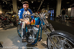 """Johnny Martinsson of Stockholm, Sweden on his Jolly Jumper 93"""" S&S Panhead in the AMD World Championship of Custom Bike Building show at the Intermot Motorcycle Trade Fair. Cologne, Germany. Friday October 7, 2016. Photography ©2016 Michael Lichter."""