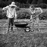 """STORY SUMMARY:  Although the average age of a farmer in the US is 57, a new group of """"Young farmers"""" in their 20's and 30's are foregoing urban lifestyles to work together in radical living and farming collectives. This sustainable farming community is especially growing in the piedmont of North Carolina. Through hard work, this evolving community seeks to break free from mechanization and consumerism, becoming a self-sustaining system. THIS IMAGE: Brandon Hines and Sun Butler make planting beds at a """"Crop Mob"""" - an activity in which people from different farms get together to complete a major project at one location. The experience builds community and helps out fellow farmers with a great deal of work, while also encouraging conversation, working together and the sharing of knowledge."""