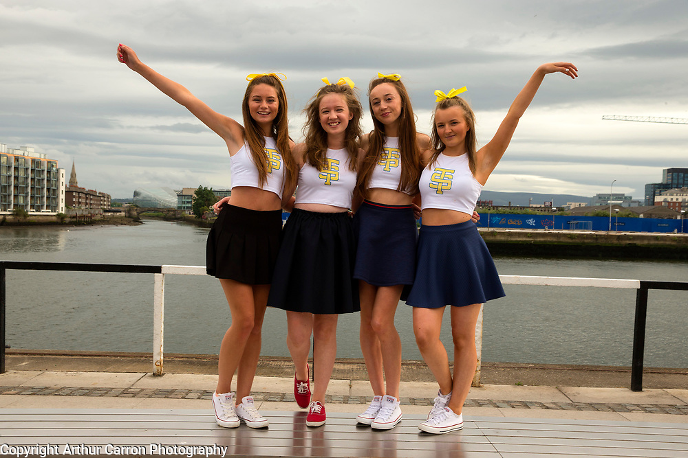 29/6/15 Taylor Swift fans Lauren Murray, 16, Ciara Lawler, 17, Alanna McLoughlin, 16 and Ciara Fluskey, 16, Rathangan, on the way to the concert in the 3 Arena in Dublin. Picture: Arthur Carron