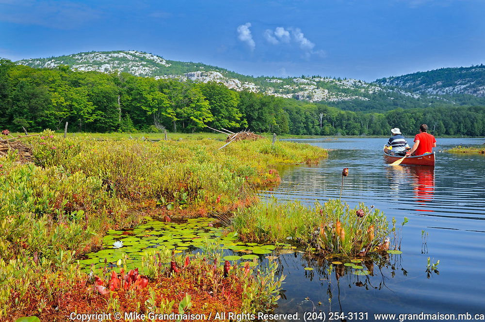 Canoeing on Killarney Lake and white quartzite rock of the La Cloche Hills <br />