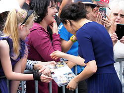 The Duke of Sussex and Duchess of Sussex greet crowds of well wishers at Government Gardens in Rotorua, New Zealand. The Duchess was wearing a sheer skirt as she shook hands and chatted with members of the public.<br /><br />31 October 2018.<br /><br />Please byline: Vantagenews.com
