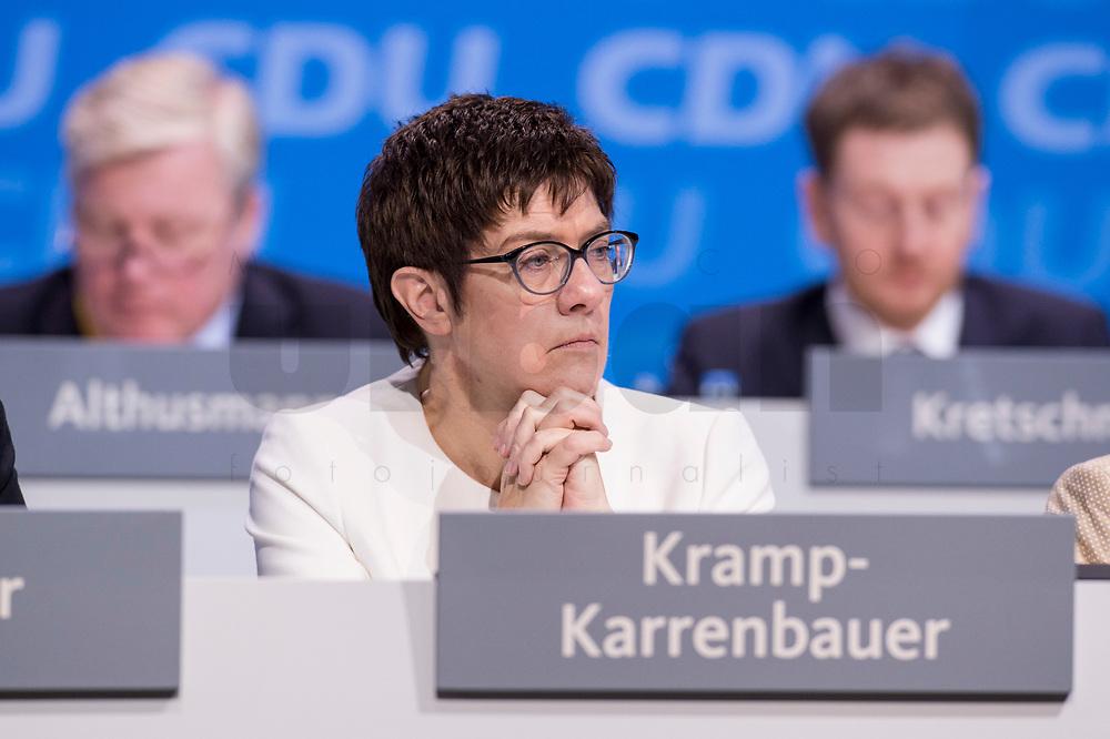 26 FEB 2018, BERLIN/GERMANY:<br /> Annegret Kramp-Karrenbauer, CDU, desig. Generalsekretaerin, CDU Bundesparteitag, Station Berlin<br /> IMAGE: 20180226-01-050<br /> KEYWORDS: Party Congress, Parteitag