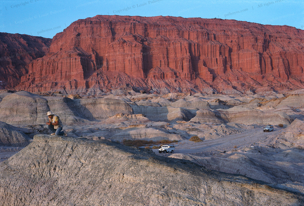 """The Sereno expedition drives through Ischigualasto, a dinosaur Garden of Eden in the Triassic.  This area, called """"Valley of the Moon""""  is known to have fossils from a slice of time marking the advent of the earliest dinoaurs."""
