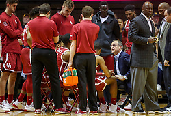 Feb 2, 2019; Morgantown, WV, USA; Oklahoma Sooners head coach Lon Kruger talks to his team during a timeout during the first half against the West Virginia Mountaineers at WVU Coliseum. Mandatory Credit: Ben Queen-USA TODAY Sports